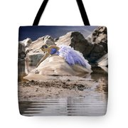 Woman On A Rock Tote Bag