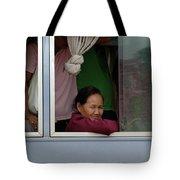 Woman On Bus Laos Tote Bag