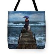 Woman On Dock In Storm Tote Bag