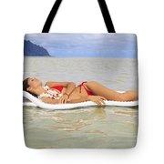 Woman On Raft Tote Bag