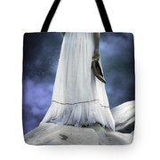 Woman On Rocks Tote Bag