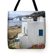 Woman On The Terrace - Mykonos Tote Bag