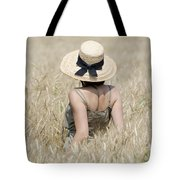 Woman On The Wheat Field Tote Bag