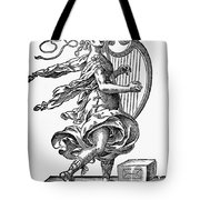 Woman Playing The Harp Tote Bag
