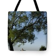 Woman Sitting At Picnic Bench Tote Bag