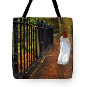 Woman Walking In Long White Gown Tote Bag