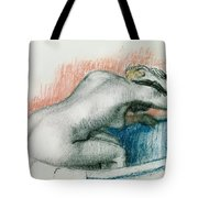 Woman Washing In The Bath Tote Bag
