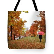 Woman With A Red Umbrella Tote Bag