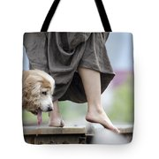 Woman With A Skirt And A Dog Tote Bag