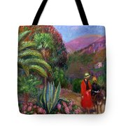 Woman With Child On A Donkey Tote Bag