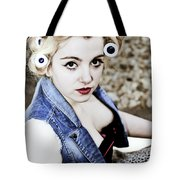 Woman With Curlers Tote Bag