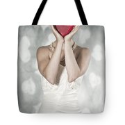 Woman With Heart Tote Bag