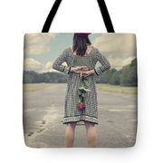 Woman With Red Rose Tote Bag