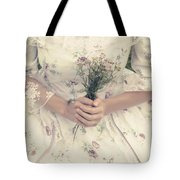 Woman With Wild Flowers Tote Bag by Joana Kruse