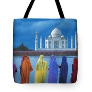 Women In Colorful Saris In Front Of The Tote Bag