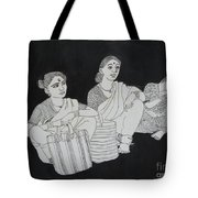 Women Waiting For The Bus Tote Bag