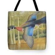 Wood Duck Flying Tote Bag
