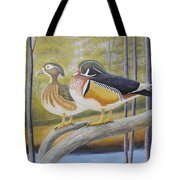 Wood Duck Pair At The Lake Tote Bag