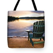 Wooden Chair At Sunset On Beach Tote Bag