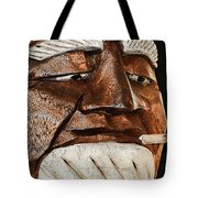 Wooden Head With Cigarette Tote Bag
