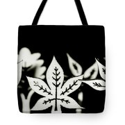Wooden Leaf Shapes In Black And White Tote Bag