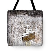 Wooden Sign In Winter By The Yankee Springs Recreation Area In Michigan Tote Bag