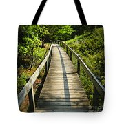Wooden Walkway Through Forest Tote Bag