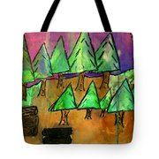 Woods Cut Logs And A Sunset Tote Bag