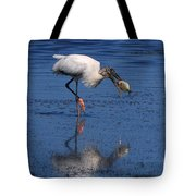 Woodstork Catches Fish Tote Bag
