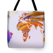 World Map Abstract Painted Tote Bag