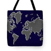 World Map Silver Tote Bag