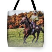 Wrangler And Horse Tote Bag by Susan Candelario