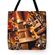 Wrench Tools And Nuts Tote Bag