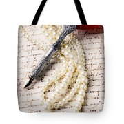 Writing Pen And Perals  Tote Bag