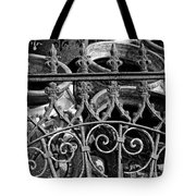 Wrought Iron Gate And Pots Black And White Tote Bag
