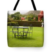Wrought Metal Chairs Around A Table In A Lawn Tote Bag