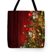 Xmas Tree On Red Tote Bag by Carlos Caetano