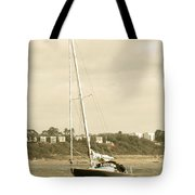 Yacht Entering Christchurch Harbour Tote Bag