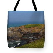 Yaquina Head Lighthouse And Bay - Posterized Tote Bag