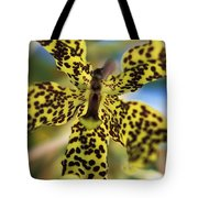 Yellow And Black Spotted Orchid Tote Bag