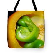 Yellow And Green Nested Pepper Tote Bag