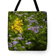 Yellow And Violet Flowers Tote Bag