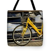 Yellow Bicycle Tote Bag by Carlos Caetano