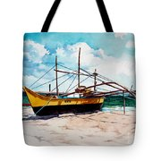 Yellow Boat Docking On The Shore Tote Bag