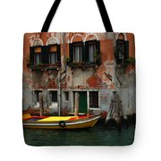 Yellow Boat Venice Italy Tote Bag