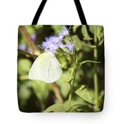 Yellow Butterfly Feeding On Violet Flower Tote Bag