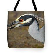 Yellow Crowned Night Heron With Catch Tote Bag
