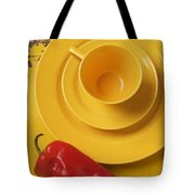 Yellow Cup And Plate Tote Bag