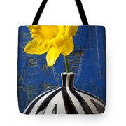 Yellow Daffodil In Striped Vase Tote Bag