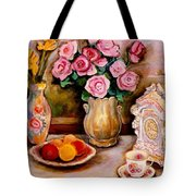 Yellow Daffodils Red Roses  Peaches And Oranges With Tea Cup  Tote Bag